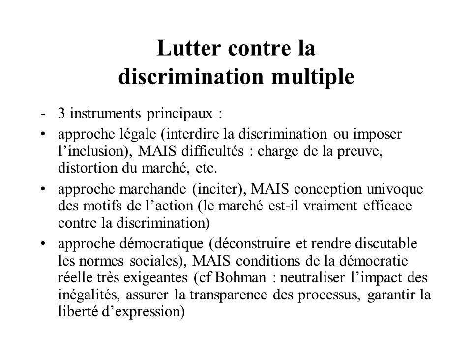 Lutter contre la discrimination multiple -3 instruments principaux : approche légale (interdire la discrimination ou imposer linclusion), MAIS difficultés : charge de la preuve, distortion du marché, etc.