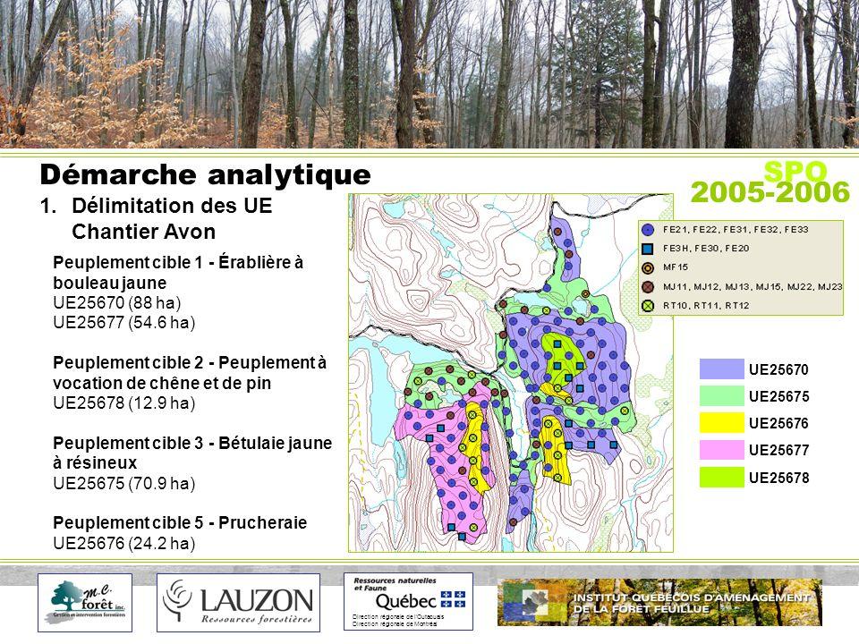 Direction régionale de lOutaouais Direction régionale de Montréal Démarche analytique 1.Délimitation des UE Chantier Avon 2005-2006 SPO Peuplement cible 1 - Érablière à bouleau jaune UE25670 (88 ha) UE25677 (54.6 ha) Peuplement cible 2 - Peuplement à vocation de chêne et de pin UE25678 (12.9 ha) Peuplement cible 3 - Bétulaie jaune à résineux UE25675 (70.9 ha) Peuplement cible 5 - Prucheraie UE25676 (24.2 ha) UE25670 UE25675 UE25676 UE25677 UE25678