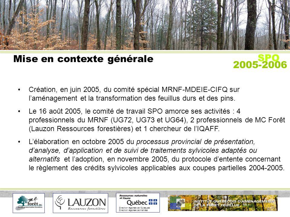 Direction régionale de lOutaouais Direction régionale de Montréal Mise en contexte générale Création, en juin 2005, du comité spécial MRNF-MDEIE-CIFQ sur laménagement et la transformation des feuillus durs et des pins.