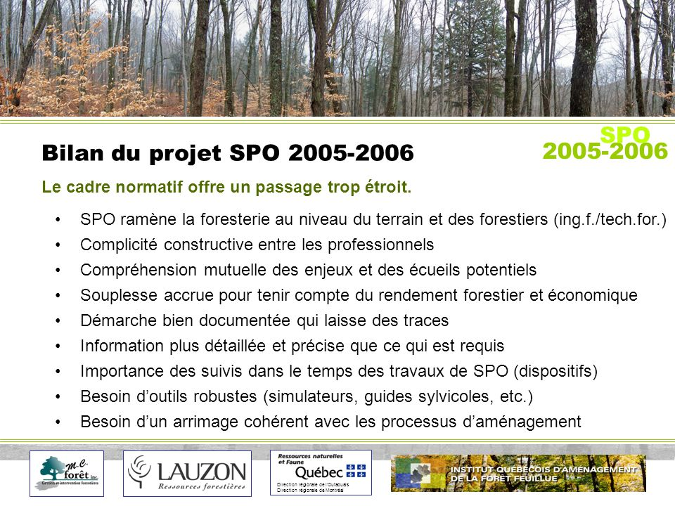 Direction régionale de lOutaouais Direction régionale de Montréal Bilan du projet SPO 2005-2006 2005-2006 SPO SPO ramène la foresterie au niveau du terrain et des forestiers (ing.f./tech.for.) Complicité constructive entre les professionnels Compréhension mutuelle des enjeux et des écueils potentiels Souplesse accrue pour tenir compte du rendement forestier et économique Démarche bien documentée qui laisse des traces Information plus détaillée et précise que ce qui est requis Importance des suivis dans le temps des travaux de SPO (dispositifs) Besoin doutils robustes (simulateurs, guides sylvicoles, etc.) Besoin dun arrimage cohérent avec les processus daménagement Le cadre normatif offre un passage trop étroit.