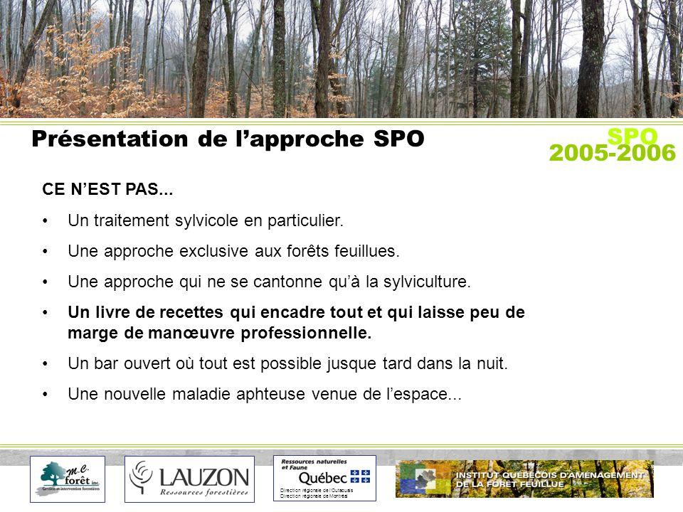 Direction régionale de lOutaouais Direction régionale de Montréal Présentation de lapproche SPO CE NEST PAS...