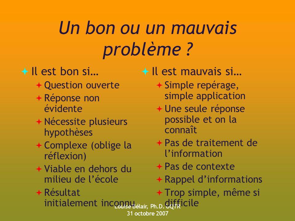 Louise Bélair, Ph.D.UQTR 31 octobre 2007 Un bon ou un mauvais problème .