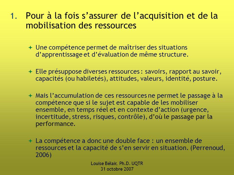 Louise Bélair, Ph.D.UQTR 31 octobre 2007 1.