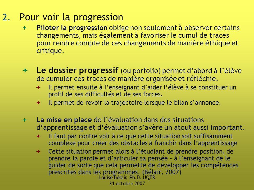 Louise Bélair, Ph.D.UQTR 31 octobre 2007 2.
