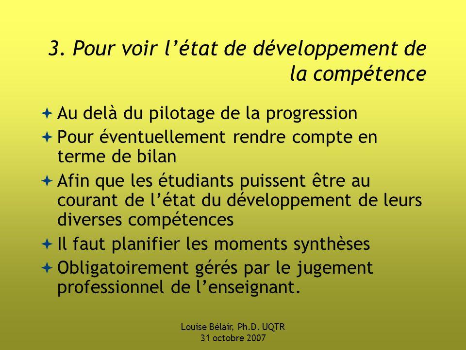 Louise Bélair, Ph.D.UQTR 31 octobre 2007 3.