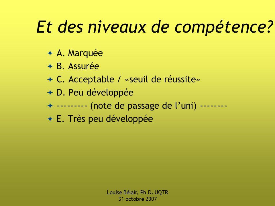 Louise Bélair, Ph.D.UQTR 31 octobre 2007 Et des niveaux de compétence.