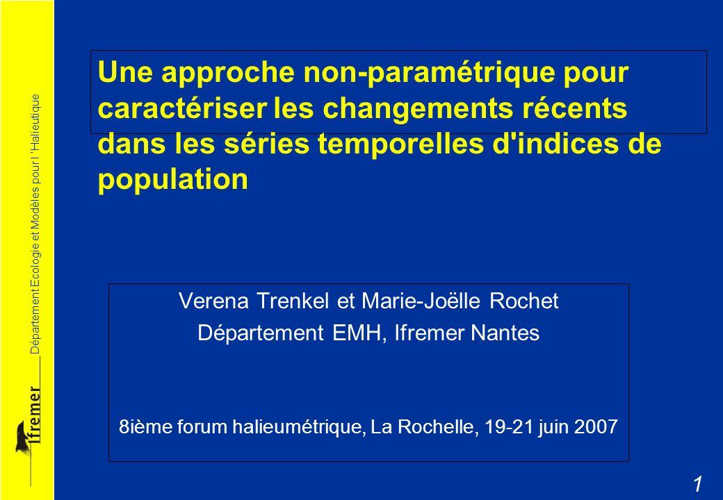Département Ecologie et Modèles pour l Halieutique 12 Discussion : Indice lissé vs brut Changement interannuel ou erreur d estimation.