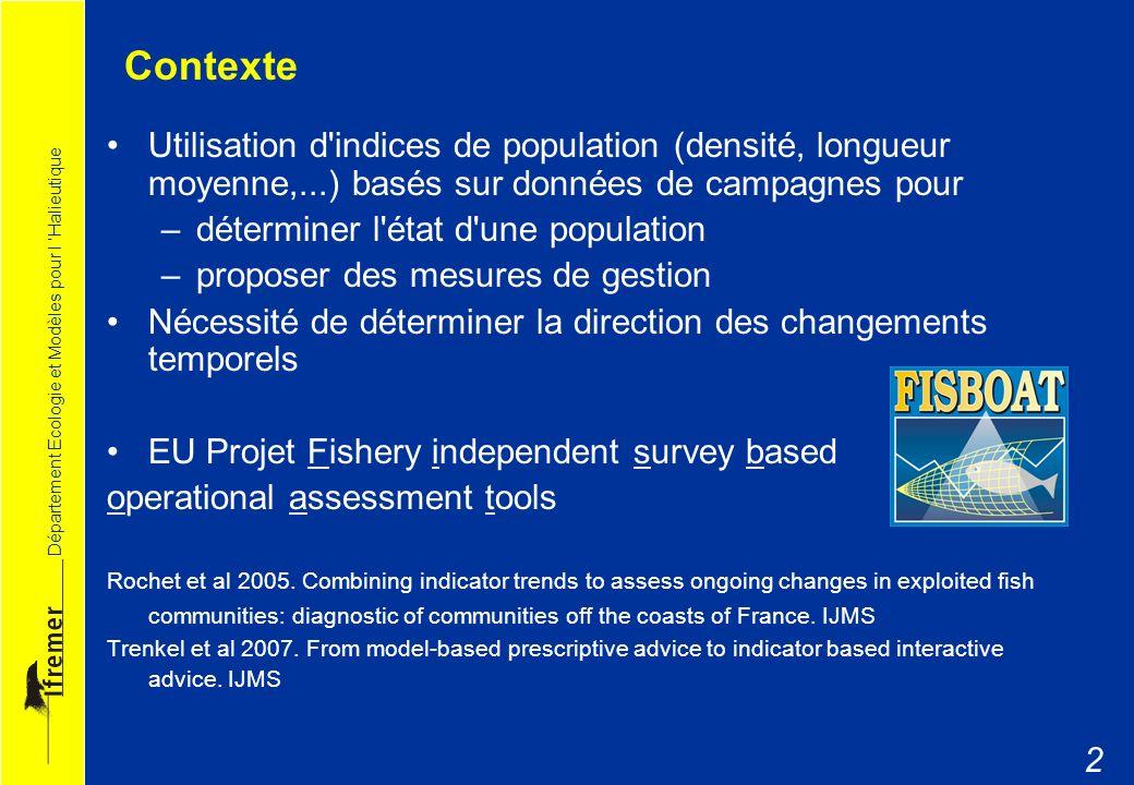Département Ecologie et Modèles pour l Halieutique 2 Contexte Utilisation d'indices de population (densité, longueur moyenne,...) basés sur données de