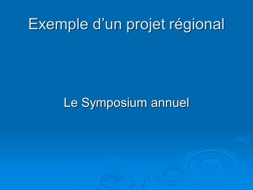 Exemple dun projet régional Le Symposium annuel