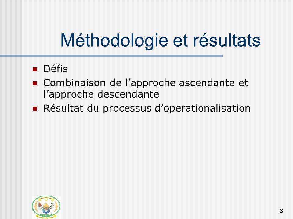 9 Methodologies et résultats Défis: Synergies des sous secteurs, e.g.