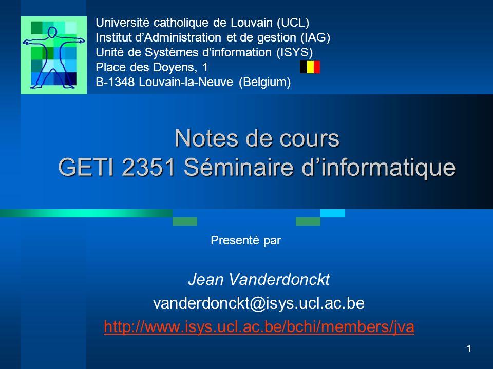 Université catholique de Louvain (UCL) Institut dAdministration et de gestion (IAG) Unité de Systèmes dinformation (ISYS) Place des Doyens, 1 B-1348 L