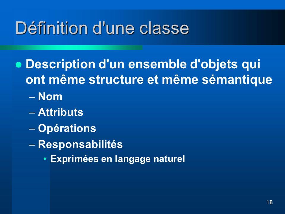 18 Définition d'une classe Description d'un ensemble d'objets qui ont même structure et même sémantique –Nom –Attributs –Opérations –Responsabilités E