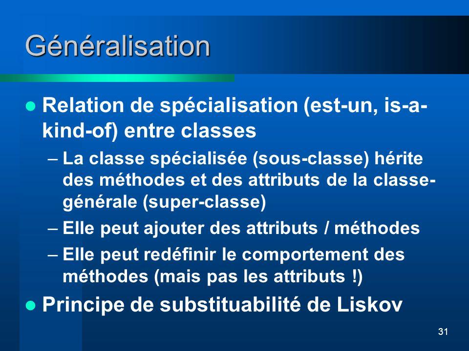 31 Généralisation Relation de spécialisation (est-un, is-a- kind-of) entre classes –La classe spécialisée (sous-classe) hérite des méthodes et des att