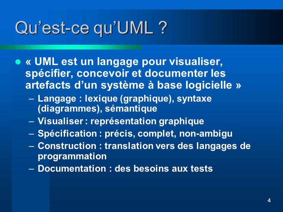 4 Quest-ce quUML ? « UML est un langage pour visualiser, spécifier, concevoir et documenter les artefacts dun système à base logicielle » –Langage : l