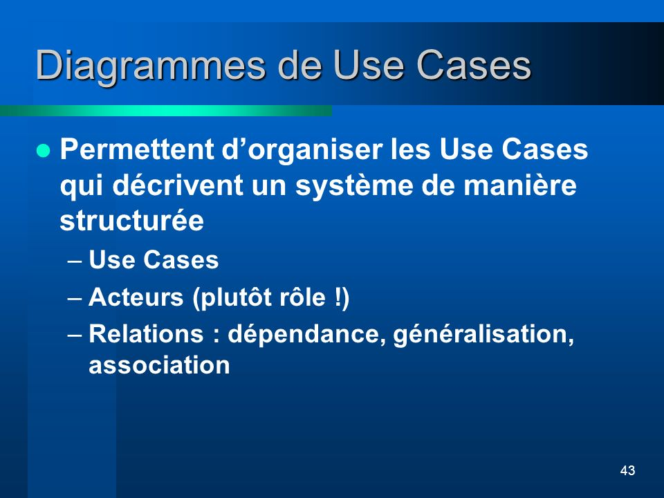 43 Diagrammes de Use Cases Permettent dorganiser les Use Cases qui décrivent un système de manière structurée –Use Cases –Acteurs (plutôt rôle !) –Rel