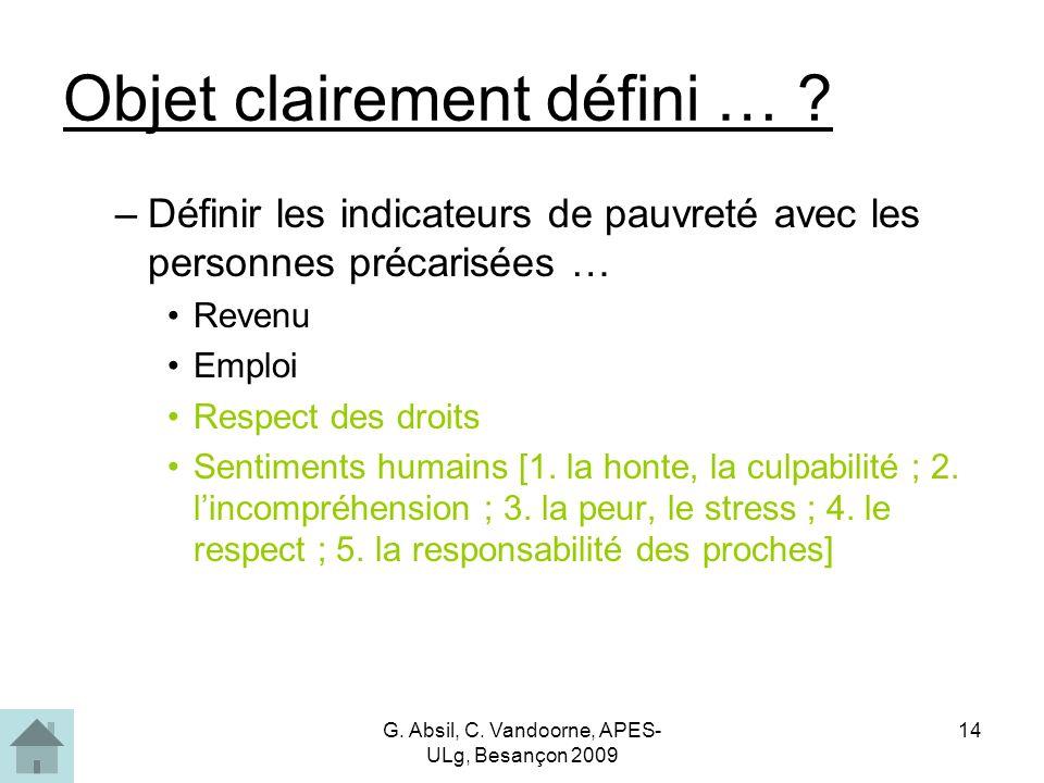 G. Absil, C. Vandoorne, APES- ULg, Besançon 2009 14 Objet clairement défini … .