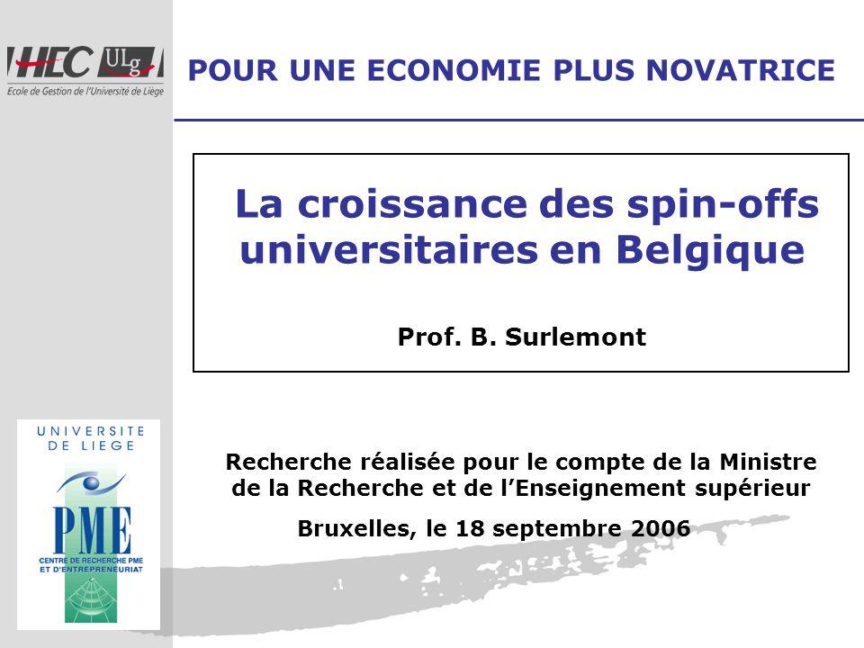POUR UNE ECONOMIE PLUS NOVATRICE Recherche réalisée pour le compte de la Ministre de la Recherche et de lEnseignement supérieur La croissance des spin
