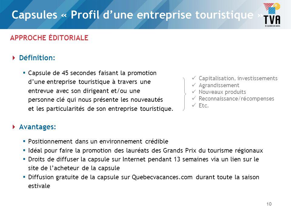 APPROCHE ÉDITORIALE Caractéristiques: Profil dune entreprise de lindustrie touristique et de ses produits Rendez-vous fixe quotidien Salut, Bonjour.