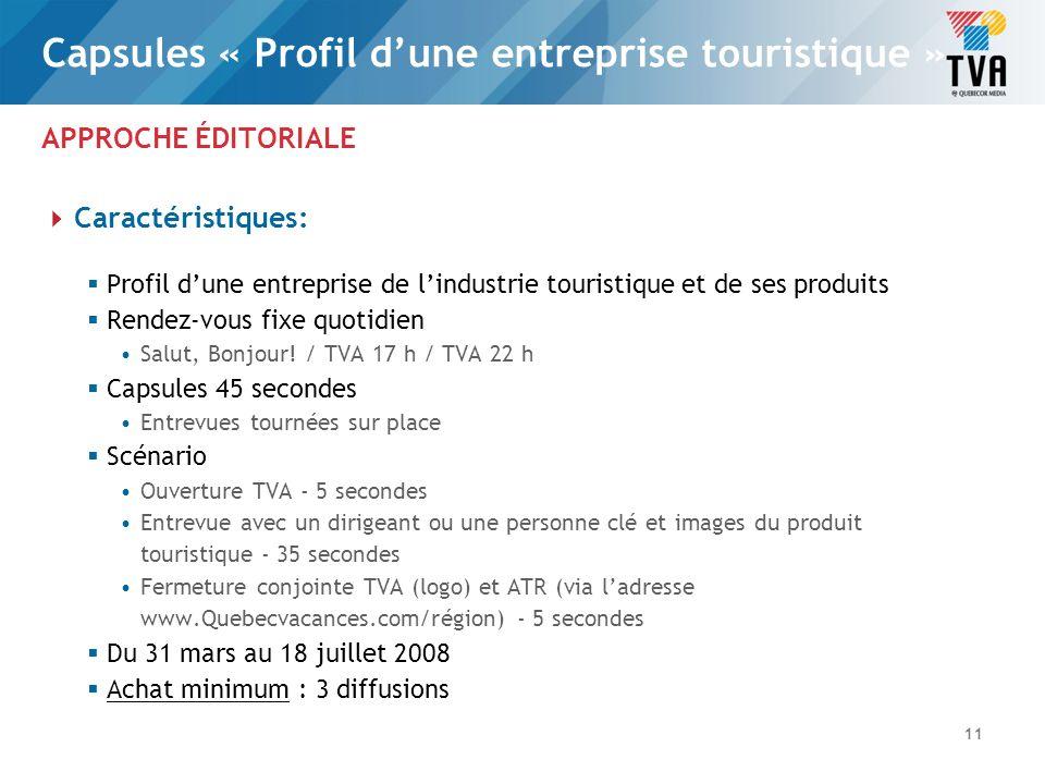 APPROCHE ÉDITORIALE Valeur et coûts: Valeur de la diffusion des capsules «Profil dune entreprise touristique » Salut, Bonjour.