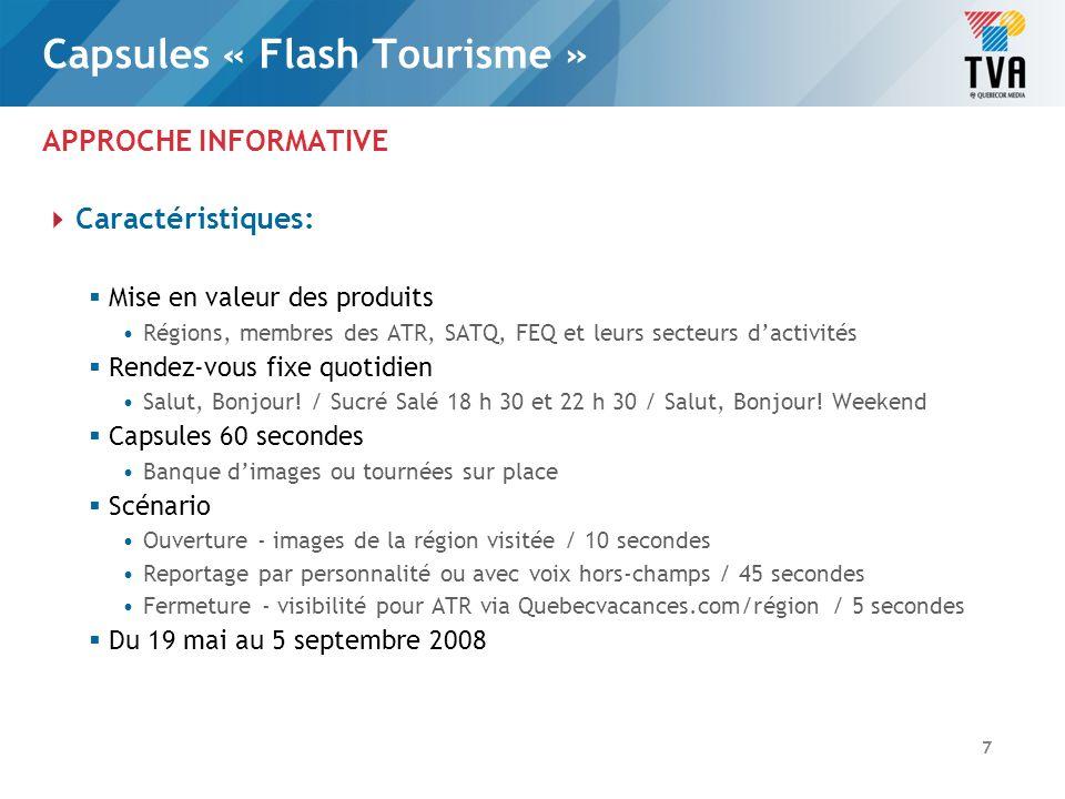 Capsules « Flash Tourisme » APPROCHE INFORMATIVE Valeurs et coûts: Valeur de la diffusion de la capsule « Flash Tourisme » chaque jour 1.Salut, Bonjour.