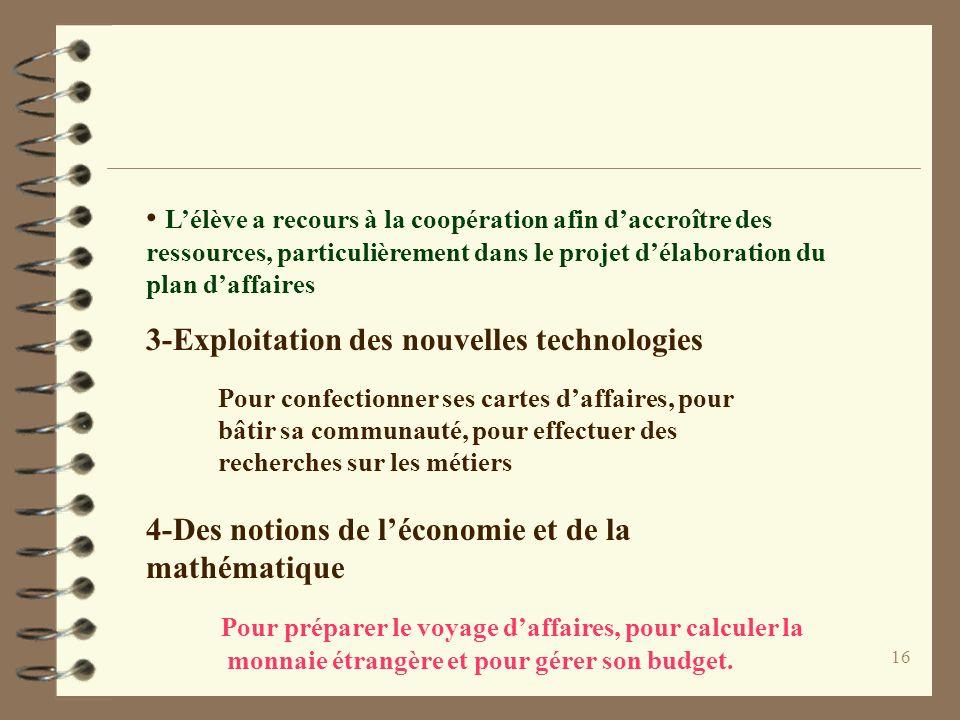 16 Lélève a recours à la coopération afin daccroître des ressources, particulièrement dans le projet délaboration du plan daffaires 3-Exploitation des