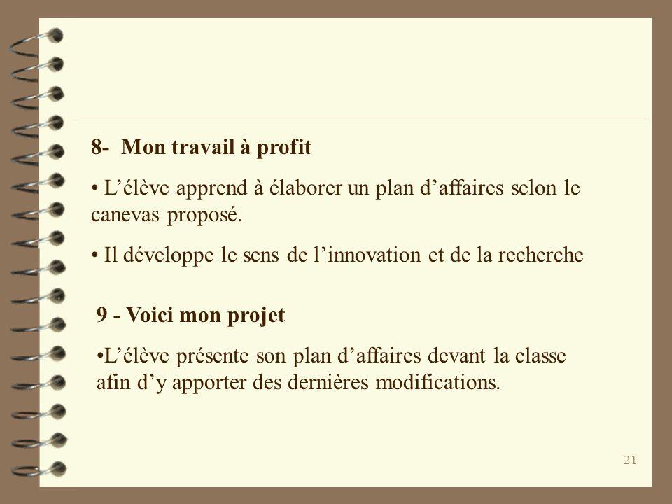 21 8- Mon travail à profit Lélève apprend à élaborer un plan daffaires selon le canevas proposé.