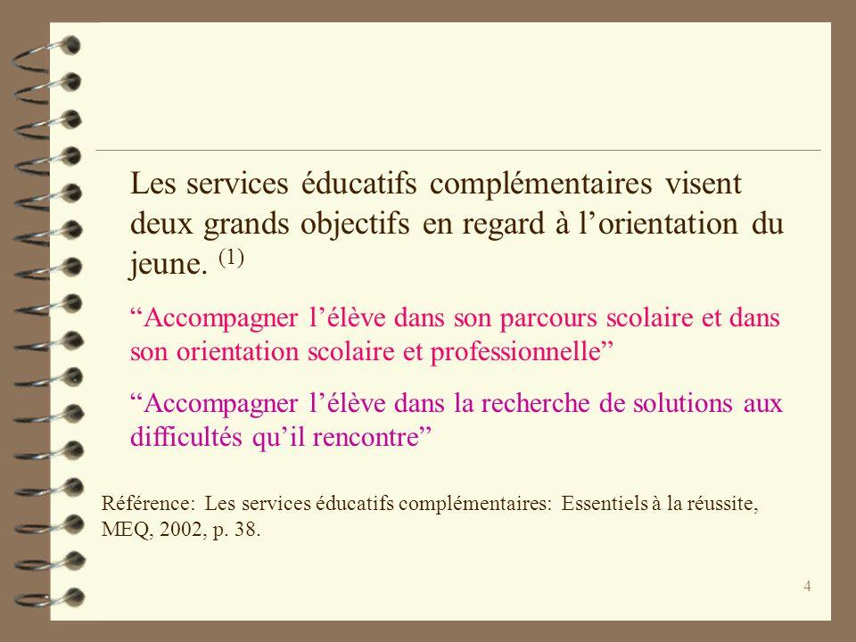 4 Les services éducatifs complémentaires visent deux grands objectifs en regard à lorientation du jeune. (1) Accompagner lélève dans son parcours scol