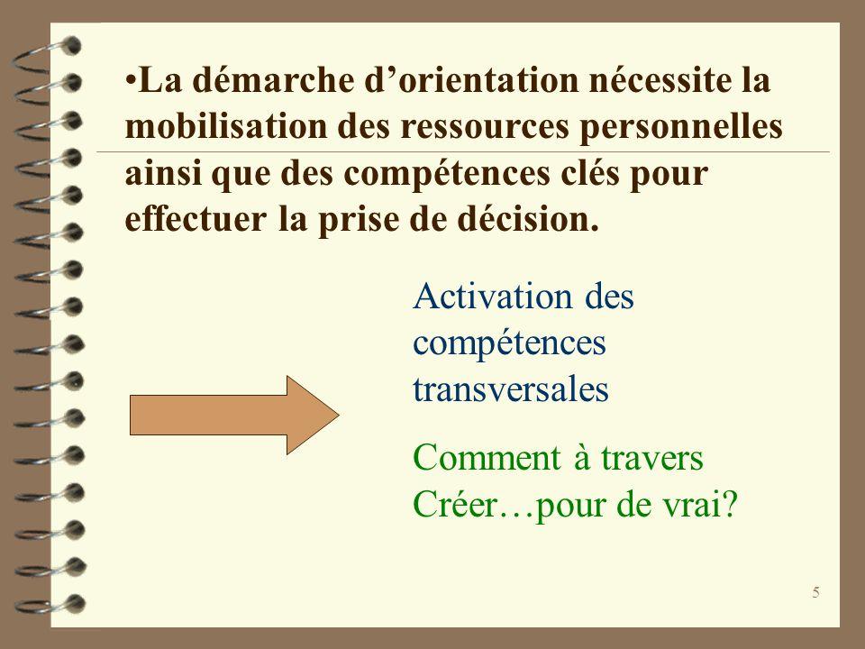5 La démarche dorientation nécessite la mobilisation des ressources personnelles ainsi que des compétences clés pour effectuer la prise de décision. A