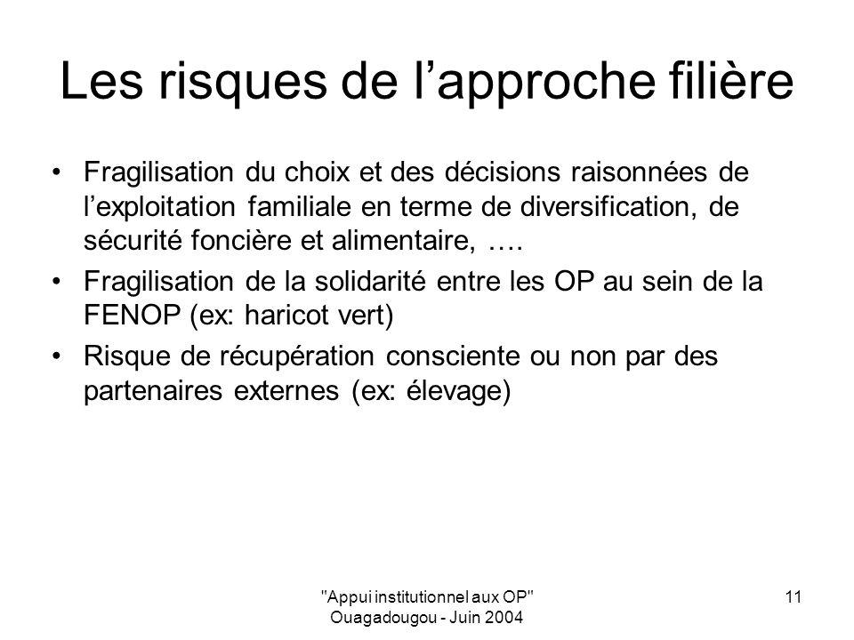 Appui institutionnel aux OP Ouagadougou - Juin 2004 11 Les risques de lapproche filière Fragilisation du choix et des décisions raisonnées de lexploitation familiale en terme de diversification, de sécurité foncière et alimentaire, ….
