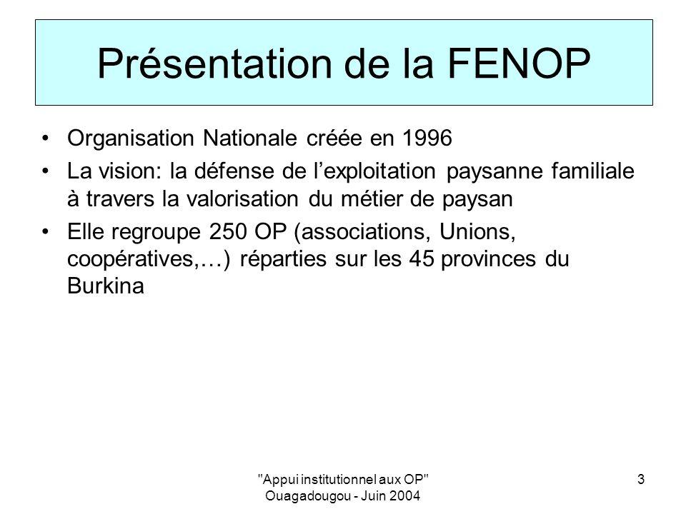 Appui institutionnel aux OP Ouagadougou - Juin 2004 3 Présentation de la FENOP Organisation Nationale créée en 1996 La vision: la défense de lexploitation paysanne familiale à travers la valorisation du métier de paysan Elle regroupe 250 OP (associations, Unions, coopératives,…) réparties sur les 45 provinces du Burkina