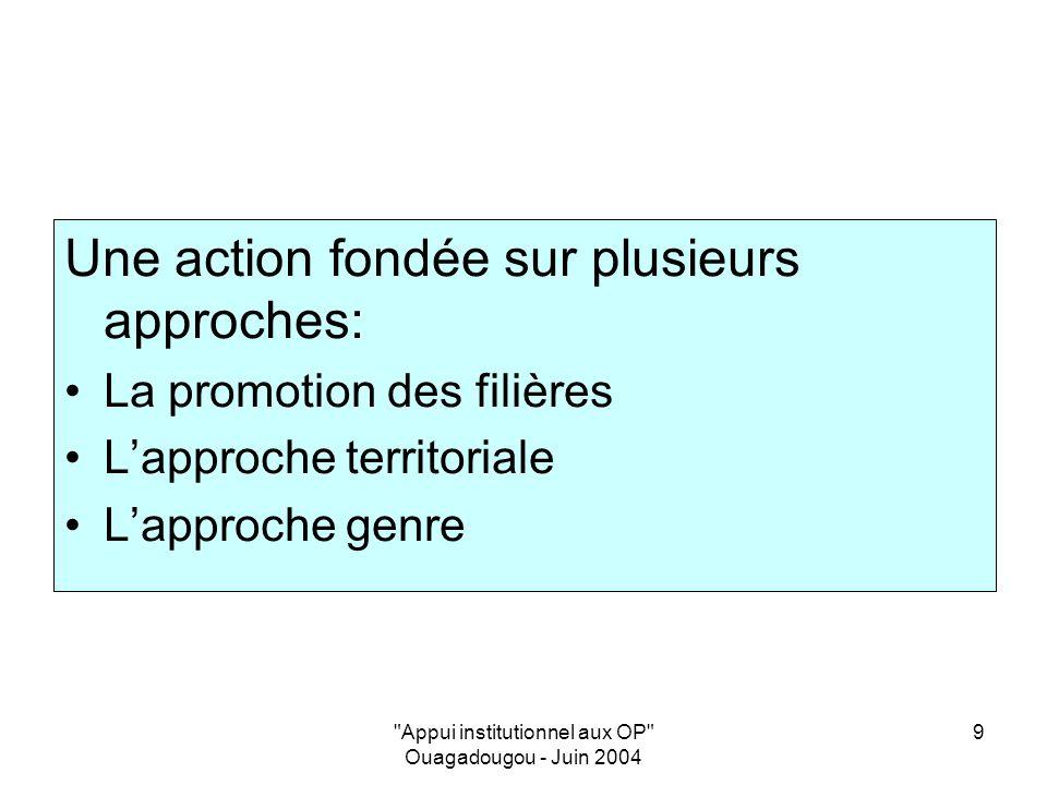 Appui institutionnel aux OP Ouagadougou - Juin 2004 9 Une action fondée sur plusieurs approches: La promotion des filières Lapproche territoriale Lapproche genre