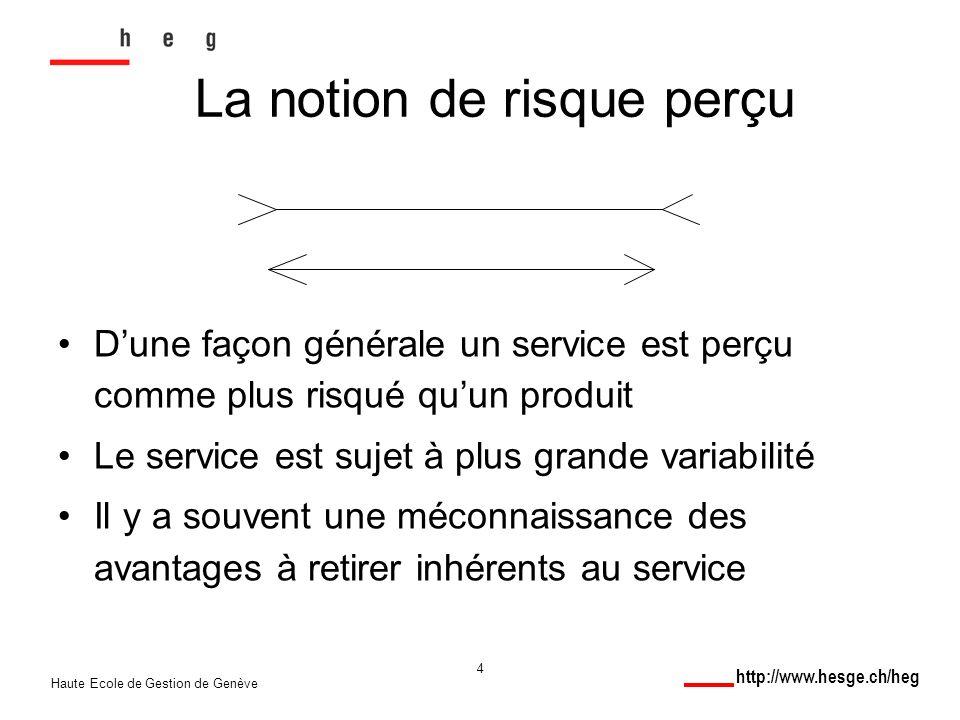 http://www.hesge.ch/heg Haute Ecole de Gestion de Genève 4 La notion de risque perçu Dune façon générale un service est perçu comme plus risqué quun produit Le service est sujet à plus grande variabilité Il y a souvent une méconnaissance des avantages à retirer inhérents au service