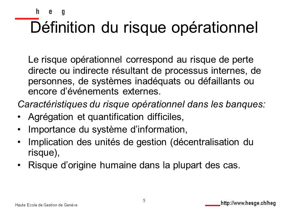 http://www.hesge.ch/heg Haute Ecole de Gestion de Genève 5 Le risque opérationnel correspond au risque de perte directe ou indirecte résultant de processus internes, de personnes, de systèmes inadéquats ou défaillants ou encore dévénements externes.