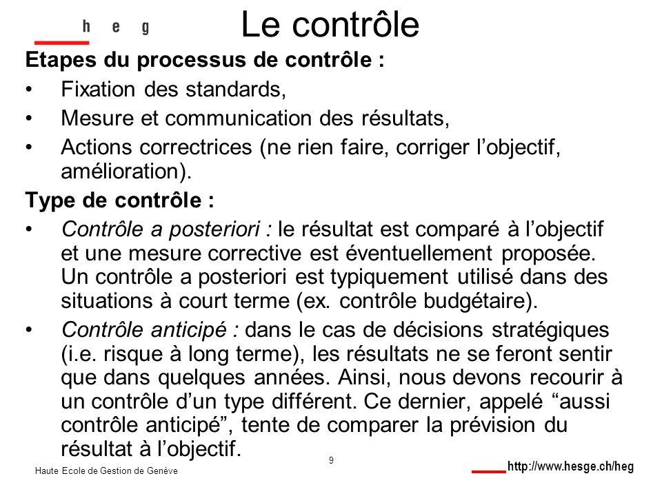 http://www.hesge.ch/heg Haute Ecole de Gestion de Genève 9 Le contrôle Etapes du processus de contrôle : Fixation des standards, Mesure et communication des résultats, Actions correctrices (ne rien faire, corriger lobjectif, amélioration).
