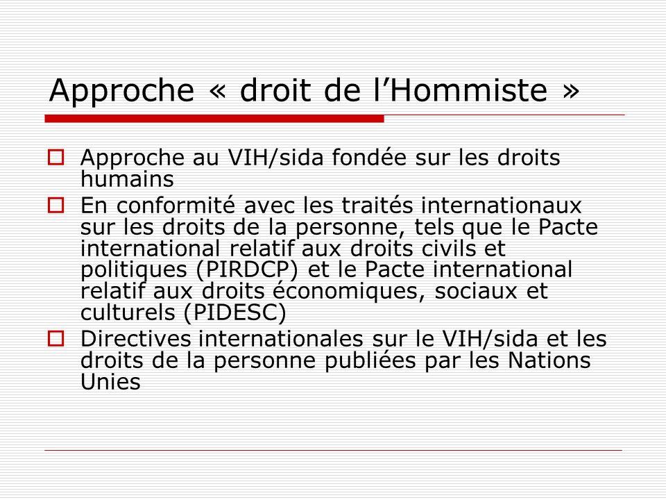 Approche « droit de lHommiste » Approche au VIH/sida fondée sur les droits humains En conformité avec les traités internationaux sur les droits de la