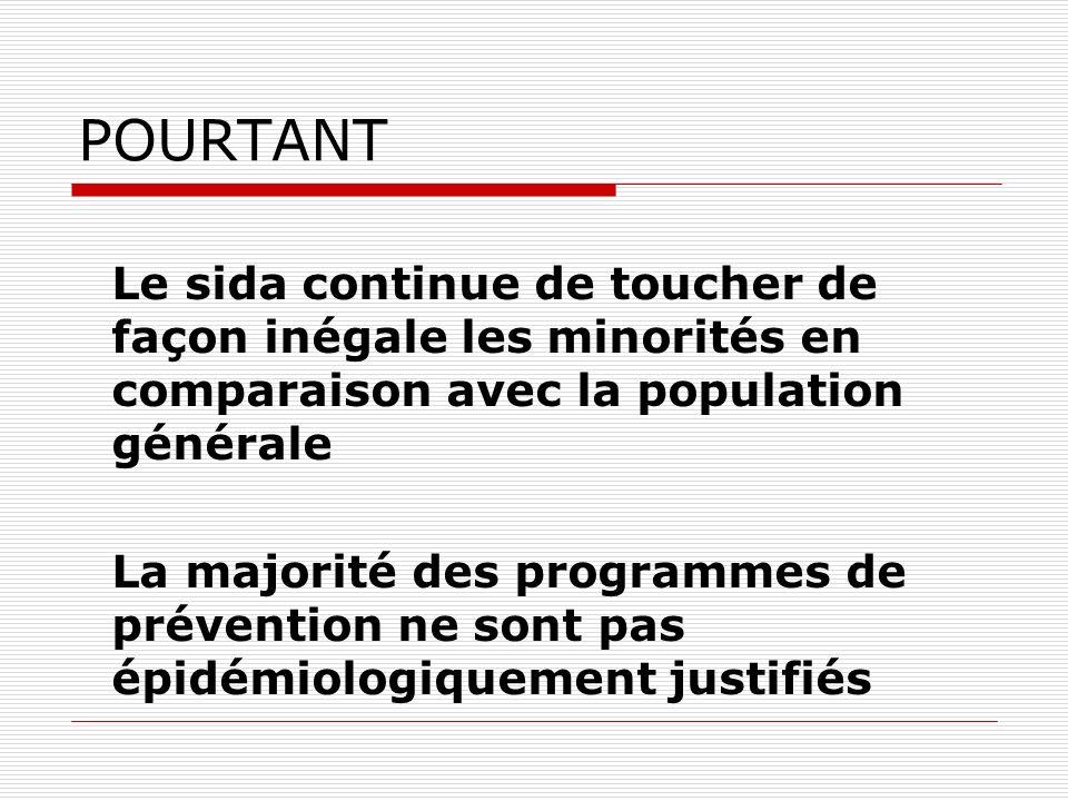 POURTANT Le sida continue de toucher de façon inégale les minorités en comparaison avec la population générale La majorité des programmes de préventio