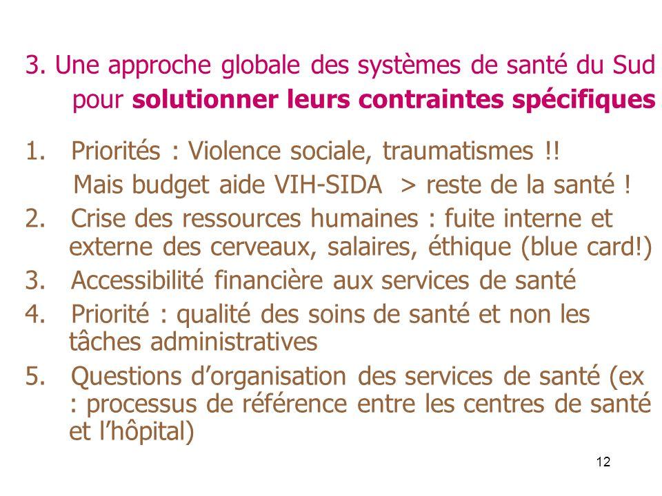 12 3. Une approche globale des systèmes de santé du Sud pour solutionner leurs contraintes spécifiques 1. Priorités : Violence sociale, traumatismes !