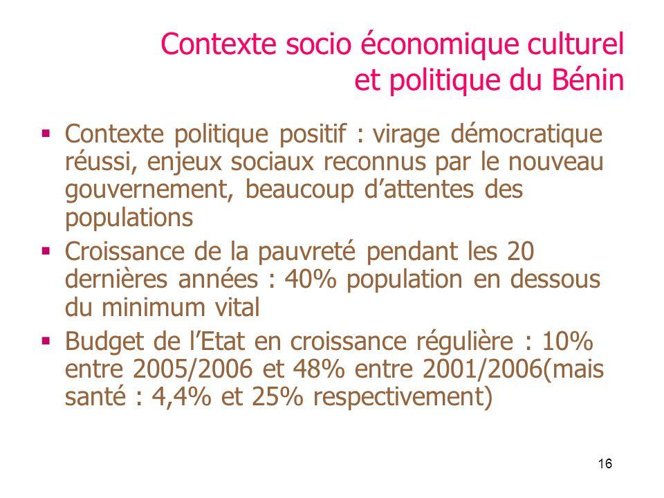 16 Contexte socio économique culturel et politique du Bénin Contexte politique positif : virage démocratique réussi, enjeux sociaux reconnus par le nouveau gouvernement, beaucoup dattentes des populations Croissance de la pauvreté pendant les 20 dernières années : 40% population en dessous du minimum vital Budget de lEtat en croissance régulière : 10% entre 2005/2006 et 48% entre 2001/2006(mais santé : 4,4% et 25% respectivement)