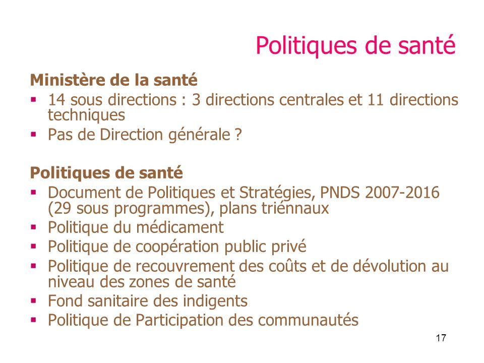 17 Politiques de santé Ministère de la santé 14 sous directions : 3 directions centrales et 11 directions techniques Pas de Direction générale .