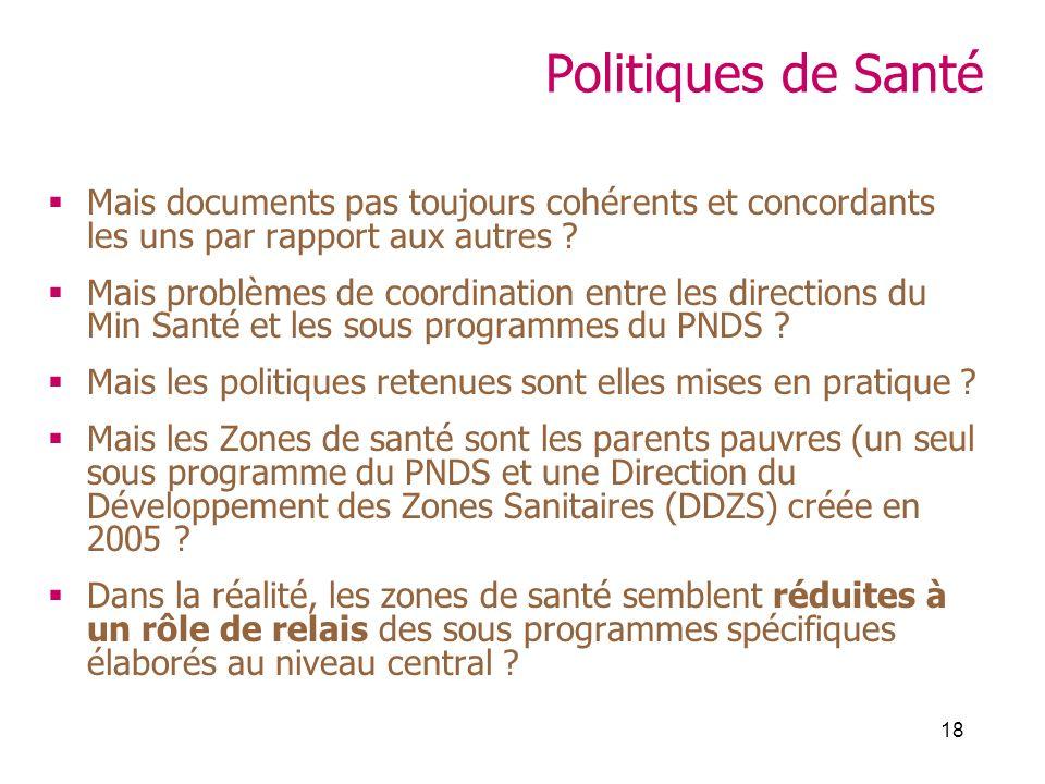 18 Politiques de Santé Mais documents pas toujours cohérents et concordants les uns par rapport aux autres ? Mais problèmes de coordination entre les