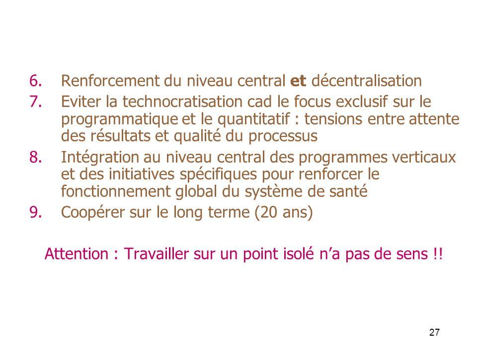 27 6.Renforcement du niveau central et décentralisation 7.Eviter la technocratisation cad le focus exclusif sur le programmatique et le quantitatif :