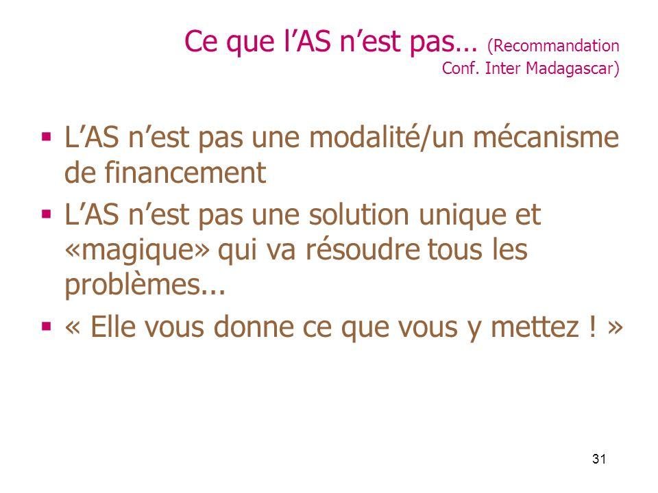 31 Ce que lAS nest pas… (Recommandation Conf. Inter Madagascar) LAS nest pas une modalité/un mécanisme de financement LAS nest pas une solution unique