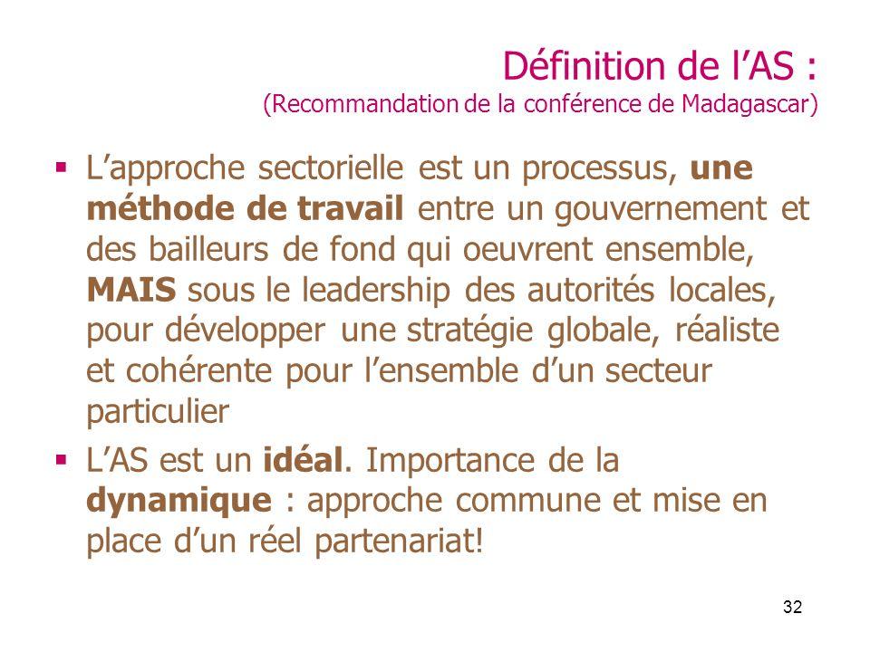 32 Définition de lAS : (Recommandation de la conférence de Madagascar) Lapproche sectorielle est un processus, une méthode de travail entre un gouvernement et des bailleurs de fond qui oeuvrent ensemble, MAIS sous le leadership des autorités locales, pour développer une stratégie globale, réaliste et cohérente pour lensemble dun secteur particulier LAS est un idéal.