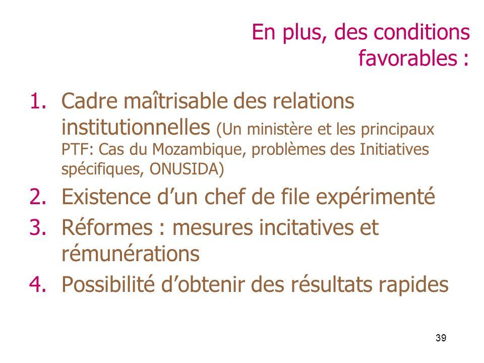 39 En plus, des conditions favorables : 1.Cadre maîtrisable des relations institutionnelles (Un ministère et les principaux PTF: Cas du Mozambique, pr