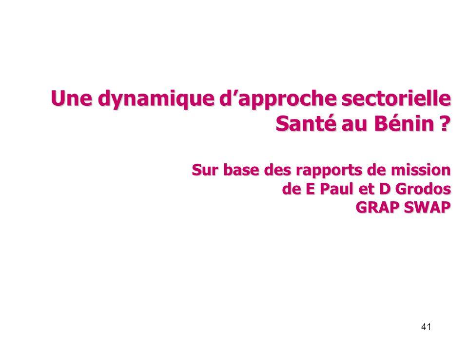 41 Une dynamique dapproche sectorielle Santé au Bénin ? Sur base des rapports de mission de E Paul et D Grodos GRAP SWAP