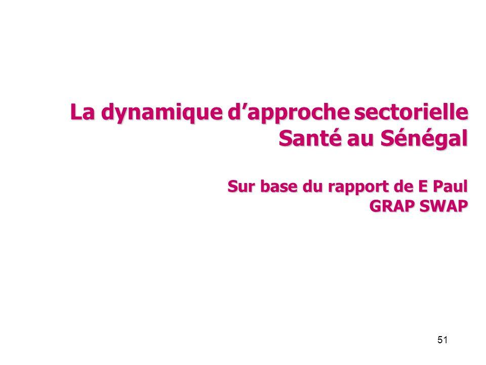 51 La dynamique dapproche sectorielle Santé au Sénégal Sur base du rapport de E Paul GRAP SWAP