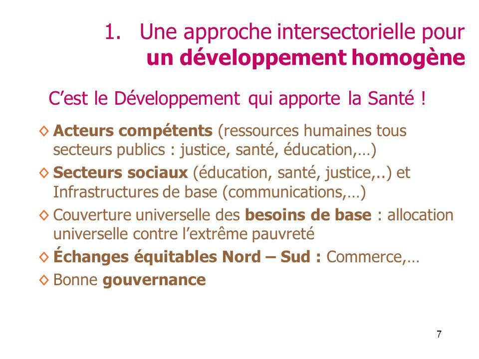 7 1.Une approche intersectorielle pour un développement homogène Cest le Développement qui apporte la Santé ! Acteurs compétents (ressources humaines