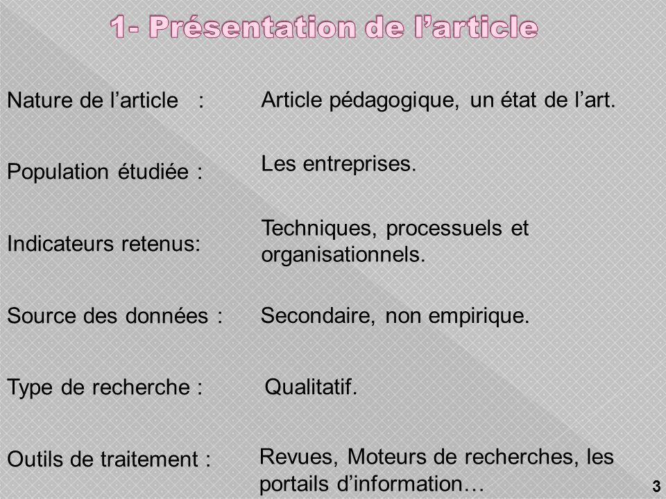 1- Présentation de larticle. 2- Problématique. 3- Définitions des concepts clés. 4- Approches de définition du SGC et leurs modélisations. 5- Apports