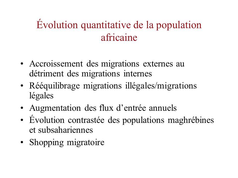 Évolution quantitative de la population africaine Accroissement des migrations externes au détriment des migrations internes Rééquilibrage migrations illégales/migrations légales Augmentation des flux dentrée annuels Évolution contrastée des populations maghrébines et subsahariennes Shopping migratoire