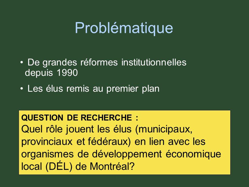 Problématique De grandes réformes institutionnelles depuis 1990 Les élus remis au premier plan De grandes réformes institutionnelles depuis 1990 Les élus remis au premier plan QUESTION DE RECHERCHE : Quel rôle jouent les élus (municipaux, provinciaux et fédéraux) en lien avec les organismes de développement économique local (DÉL) de Montréal